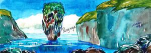 Phuket Tapu Island In Phang Nga Bay Watercolor