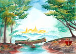 Bamar Mon City from Forest Watercolor