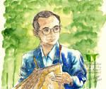 King Rama 9 Bhumibol Adulyadej watercolor writing