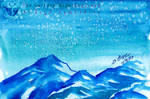 Snow Ice Mountain watercolor with salt