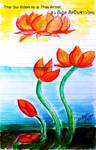 Floating Lotus watercolor on notebook