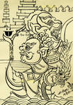 Traditional Thailand Thai Ink Drawing
