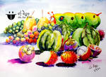 Fruits and Big Worm