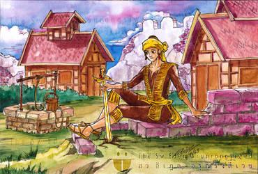 King Tabinshwehti put sword into the ground