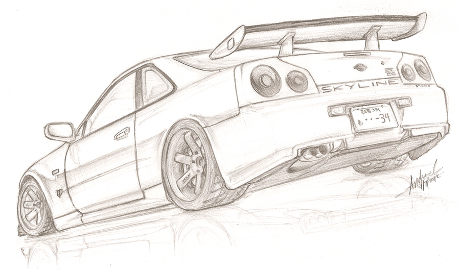 Nissan skyline r34 gt r v spec ii by tougedrifting85 on for Coloring pages nissan gtr