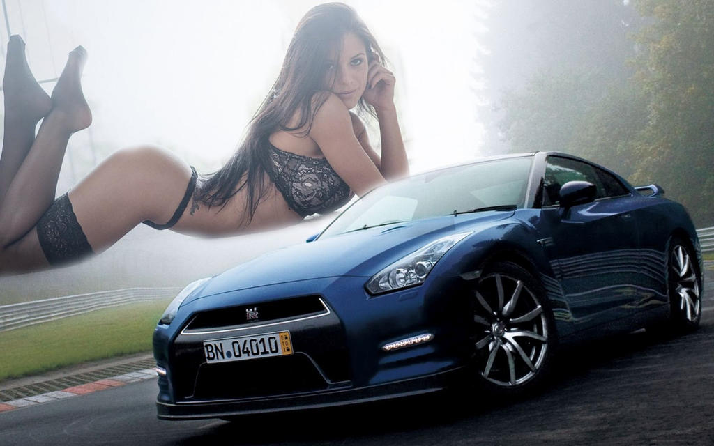 Photo-blue-nissan-gtr-on-road by cocos671