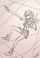 Sketch of Ryuko Matoi (Kill la Kill) by Sweathands