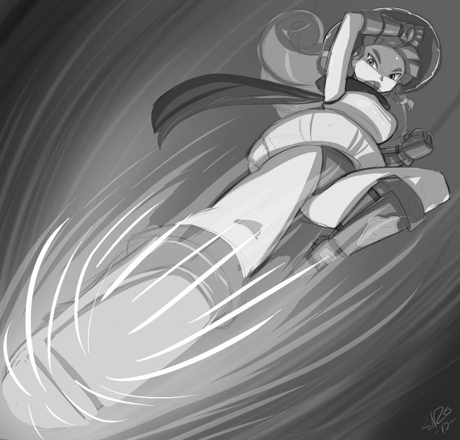Alena kick Sketch by Shonuff by Dracos123