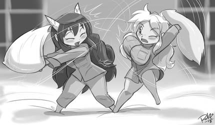 Pillow Fight by Shonuff44 by Dracos123