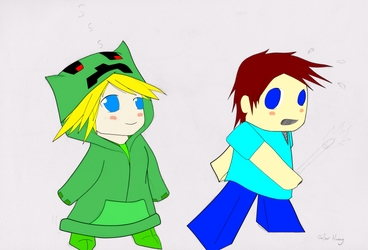 Creeper Girl and Steve Chibi 24-05-2015 by XtremeGundam652