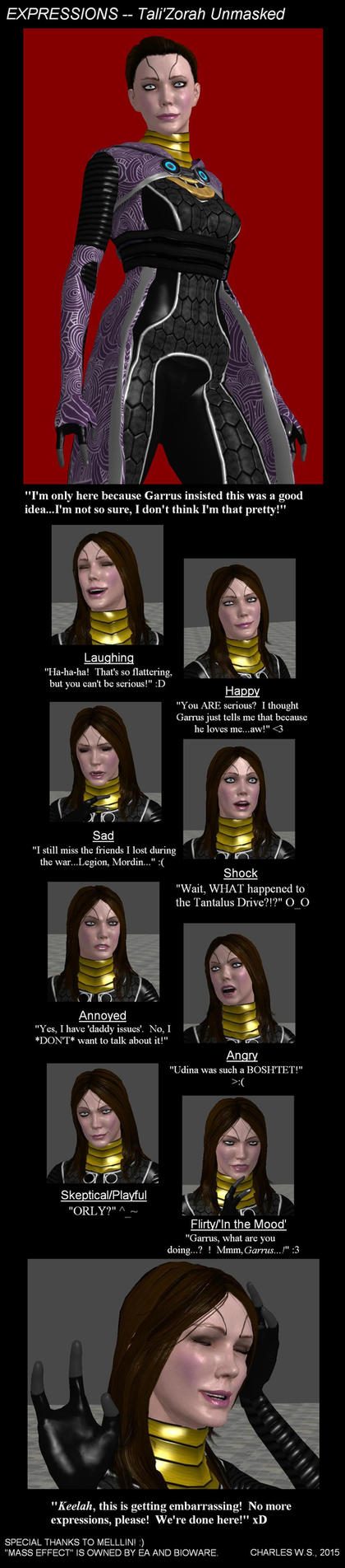 MASS EFFECT:  Expressions -- Tali'Zorah by CharlesWS