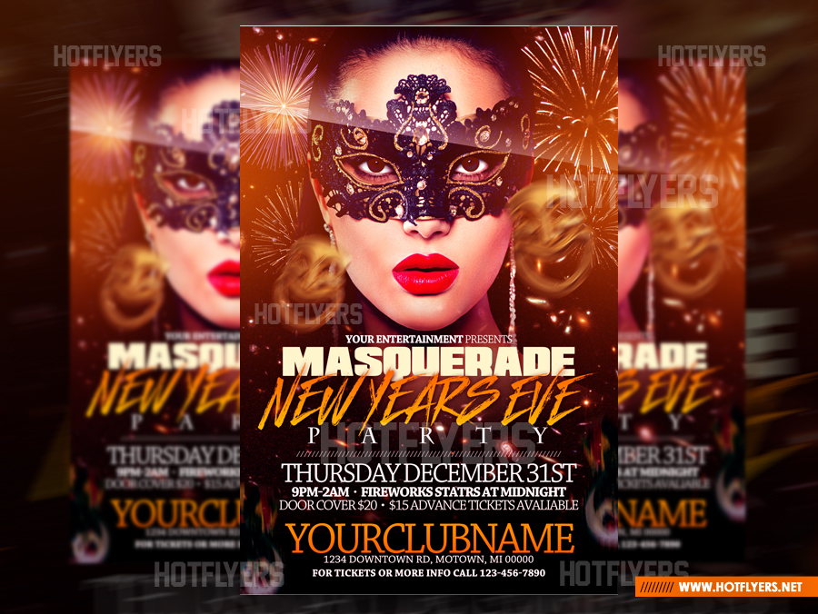 masquerade new years eve psd flyer template by hotflyers