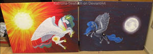 Sun and Moon Ponies Paintings by Katriona-Seallach