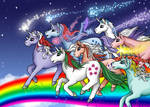Unicorn Rainbow Stampede by Katriona-Seallach