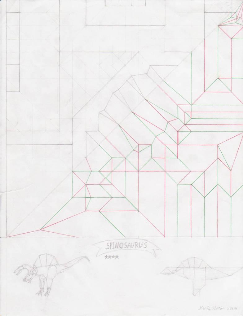 Spinosaurus crease pattern by origami-artist-galen