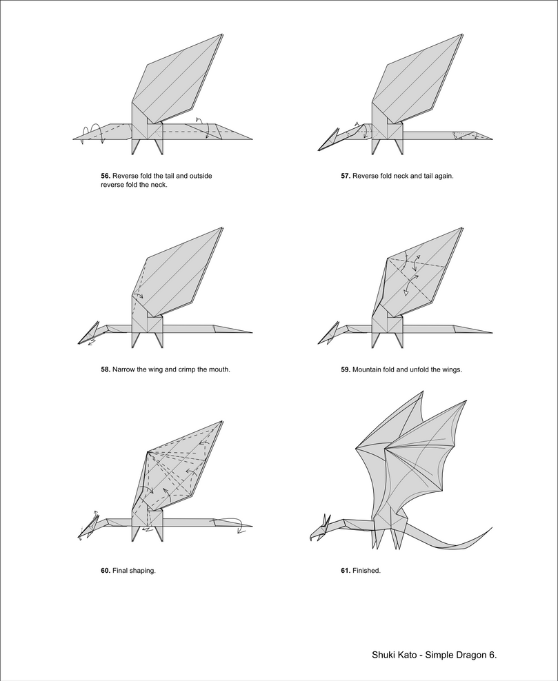 Simple Dragon Diagrams by origami-artist-galen