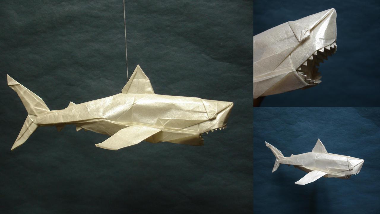 схема сборки оригами акула