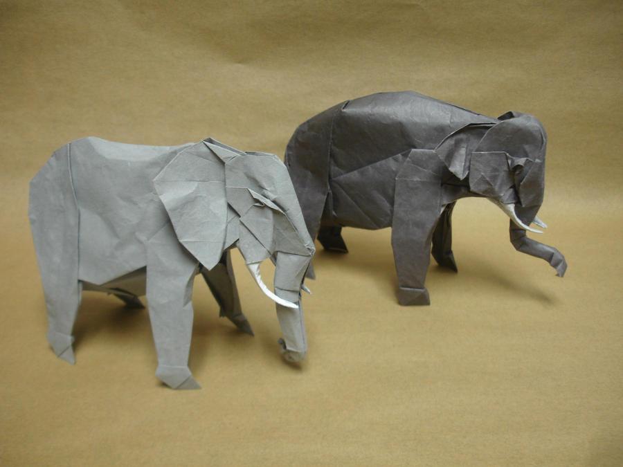 Origami Elephants by origami-artist-galen