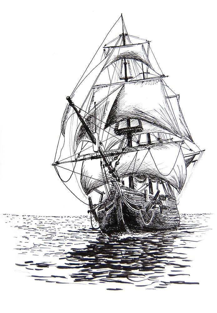 Line Drawing Ship : Sailing ship by kkokosz on deviantart