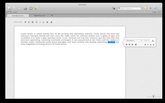 Sentence - advanced text editor