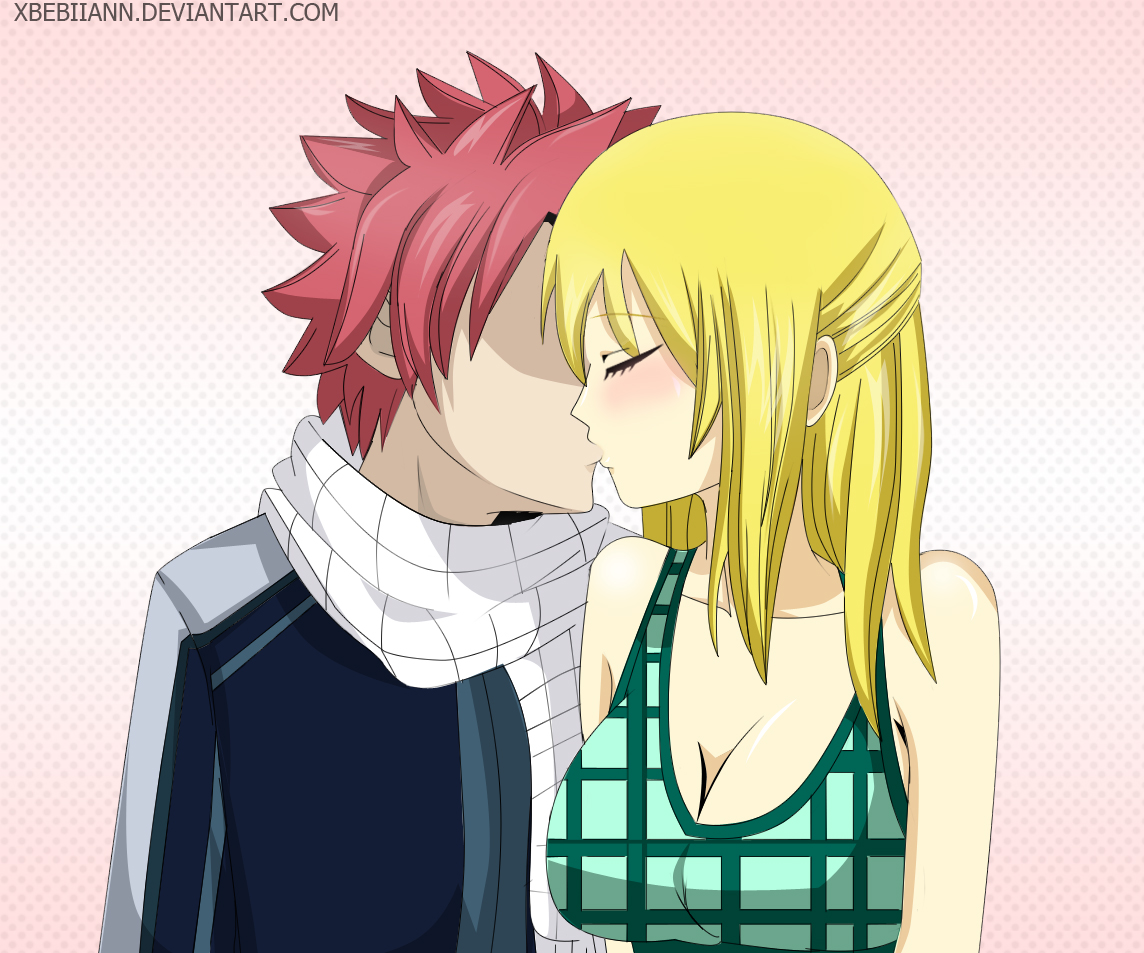 Natsu and Lucy (Kiss Scene) -Fairy Tail by xBebiiAnn