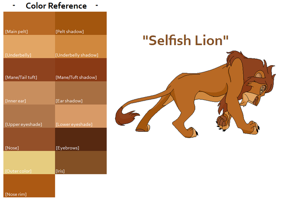TLK Selfish Lion Color Ref by FeralHeartsFan on DeviantArt