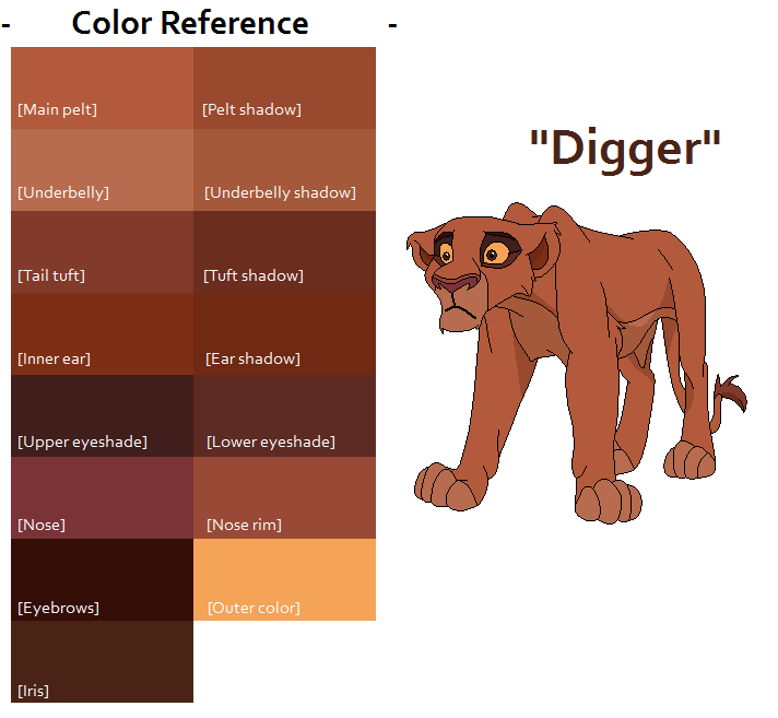 TLK Digger Color Reference by FeralHeartsFan on DeviantArt