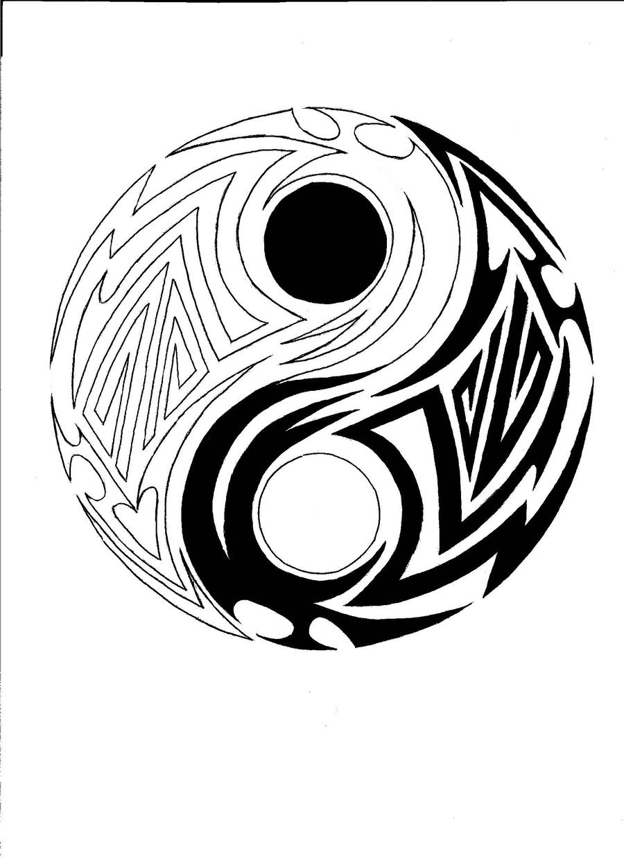 tribal yin yang by chinese ranger on deviantart. Black Bedroom Furniture Sets. Home Design Ideas
