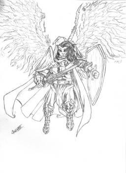 Fallen Aasimar Paladin DND Sketch