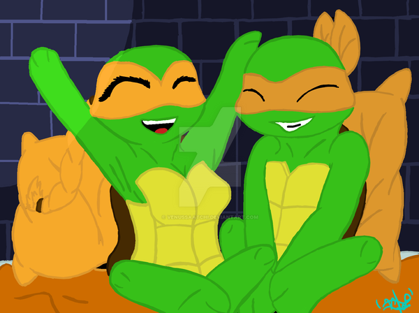 TMNT Chibis 1 - Mikey and Maleigha by VenusSaatchi