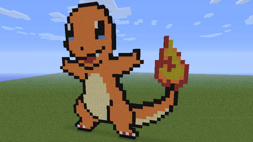 Charmander Pixel Art Template Minecraft Charmander/G...