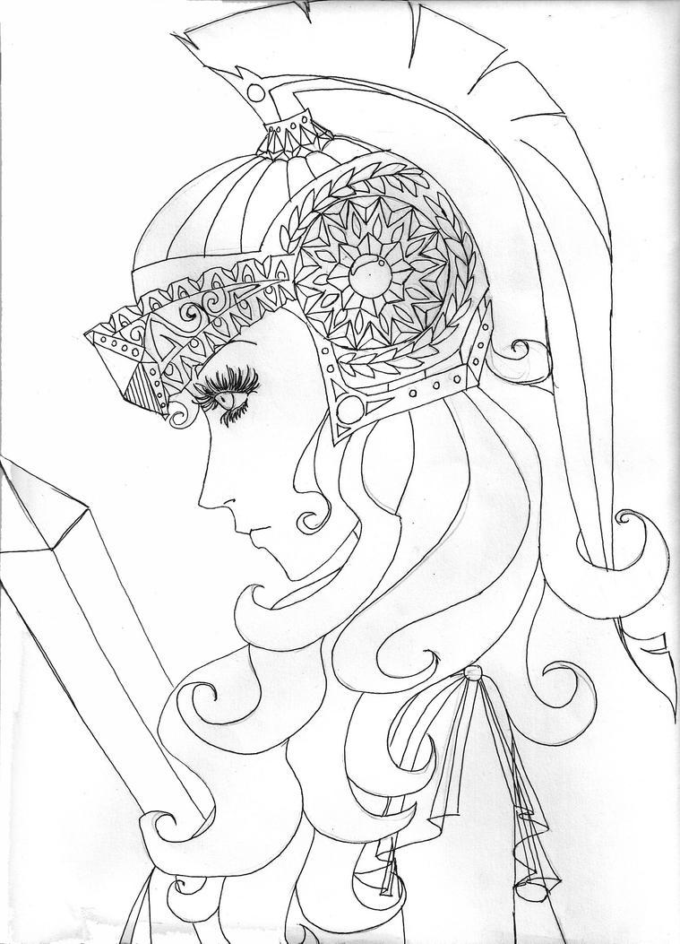 Line art Athena commission by Matsukari on DeviantArt