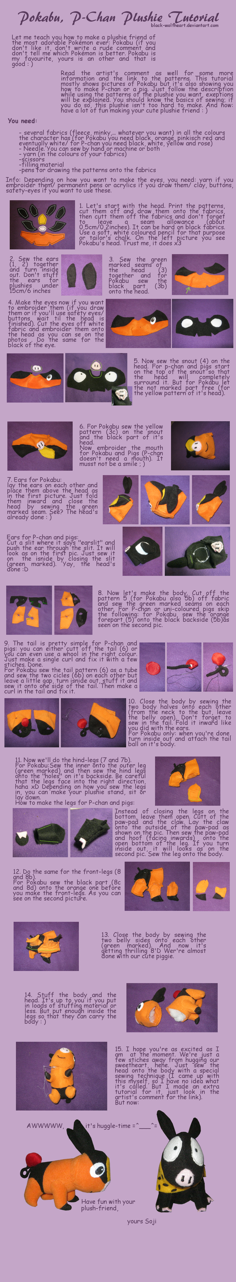 Tepig, p-chan, pig plushie tutorial by Samurai-Akita