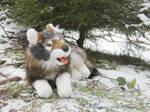 Young Laying Wolf Plushie by Samurai-Akita