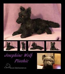 floppy black Wolf plushie by Samurai-Akita