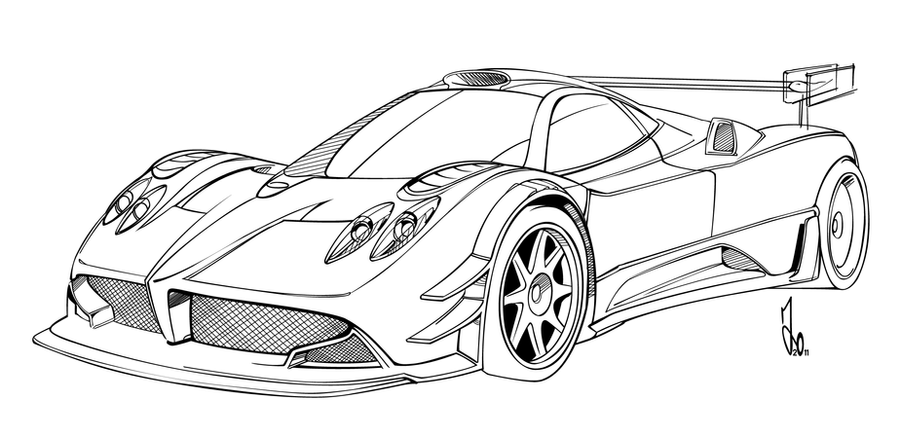 pagani zonda zinke colouring pages page 2 640x411 zonda