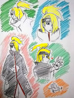 Deidara pen sketch by poisonmist13