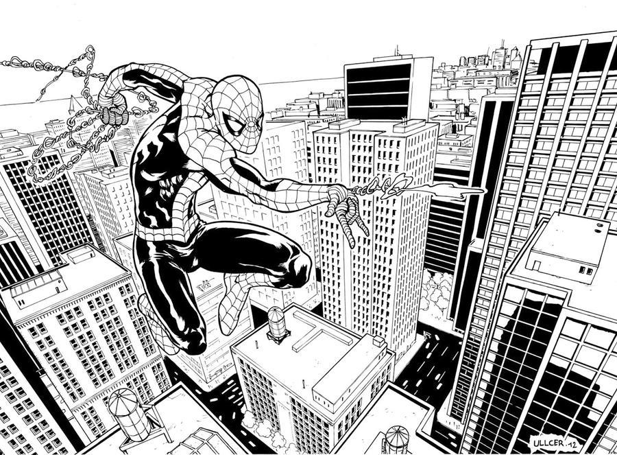 Line Art Comic : Spiderman swinging line art by ullcer on deviantart