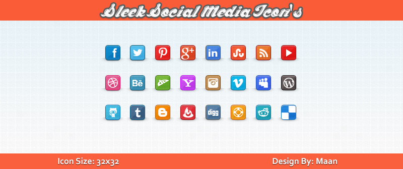 Free Sleek Social Media Icons by Downgraf