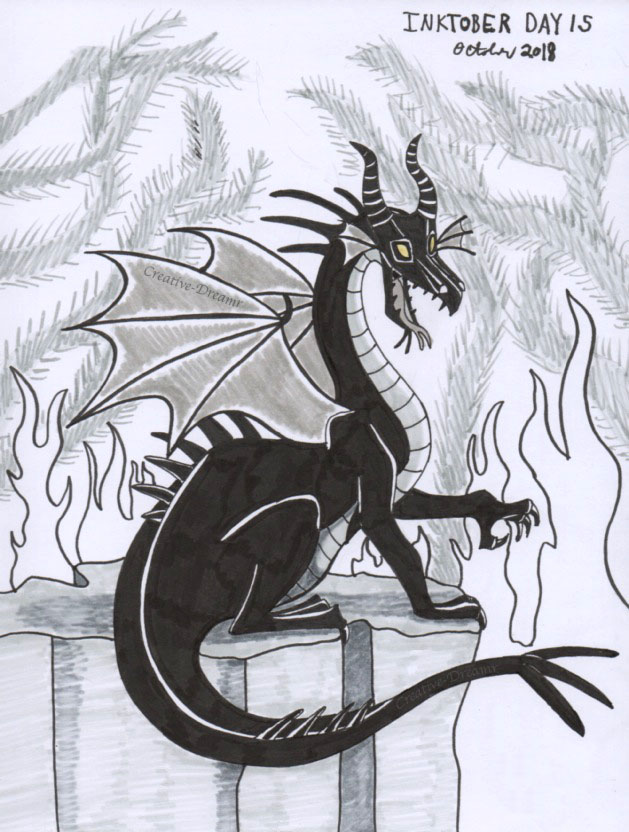 Inktober Day 15 - Maleficent Dragon by Creative-Dreamr