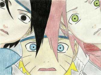 Naruto, Sakura and Sasuke. by Leeeh-Chan