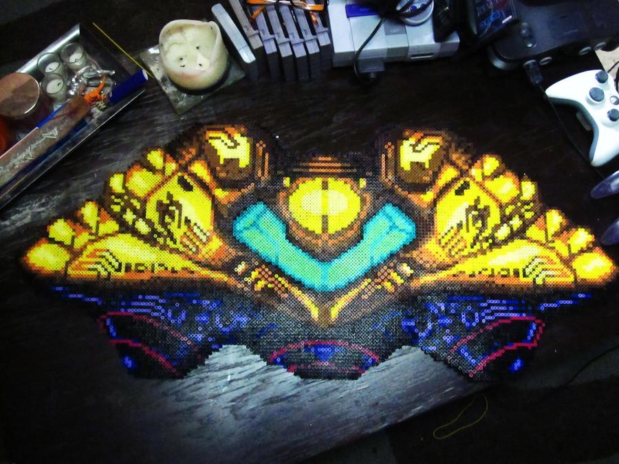 Perler Metroid: Samus' Gunship by AlyciaZU