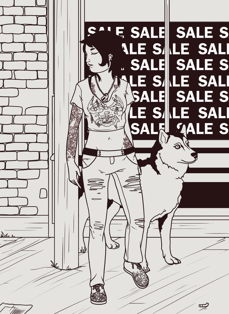 girl and her dog by emire-gull
