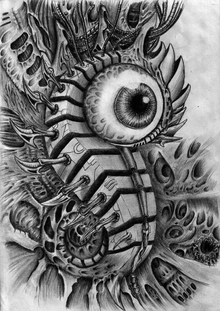 Biomech eye by zmeymh on deviantart for Eye tattoo art