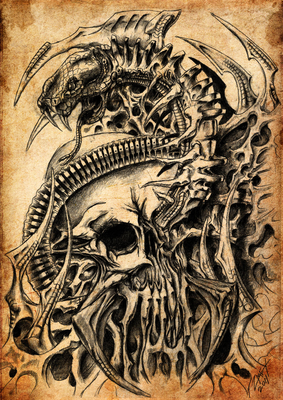 Skull and Snake, biomech by ZmeyMH on DeviantArt