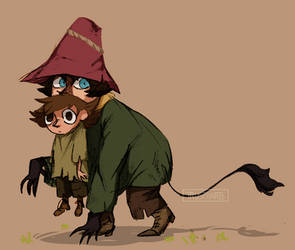 Moominvalley / Local cat dad with his baby son by TrustyArts