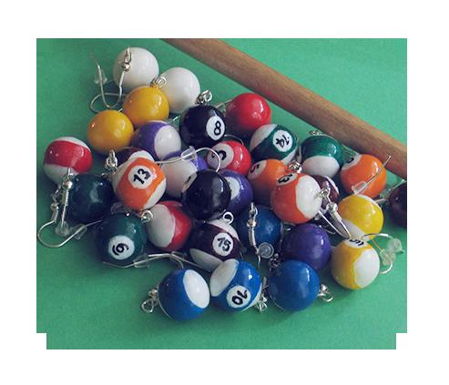 billiard ball earrings by BadgersBakery