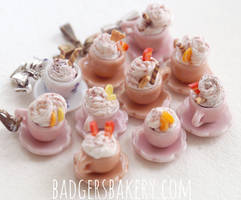 chocolate cups in pink and beige by BadgersBakery