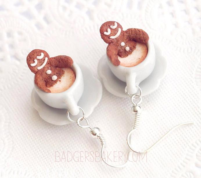 Gingerbread Spa earrings by BadgersBakery