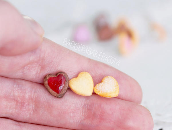 heart cookie studs - scale by BadgersBakery